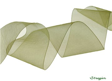 Organza Ribbon - Plain - Olive - 66 mm