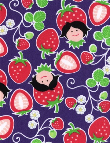 Popeline de coton HamburgerLiebe - Strawberry Picking - Mauve
