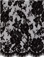 Calais Lace embroidered with a cord underlining - Donnella - Noir - 90 cm