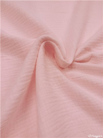 Double Gaze de Coton - uni - Rose Perle