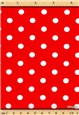 Popeline pur Coton - Pois 7mm - Rouge