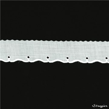 Cotton Eyelet Lace Trim - 012045 - Blanc - 30 mm-10 mm