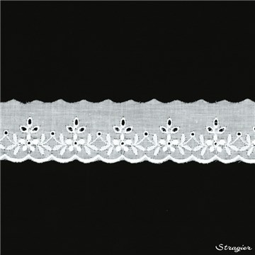 Broderie anglaise - Gustavine - Blanc - 35 mm-25 mm