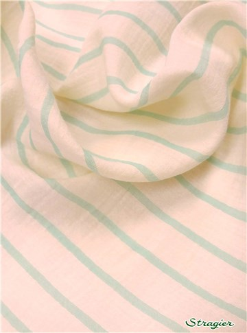 Double Cotton Gauze - Rayures 5mm-20mm - Menthe