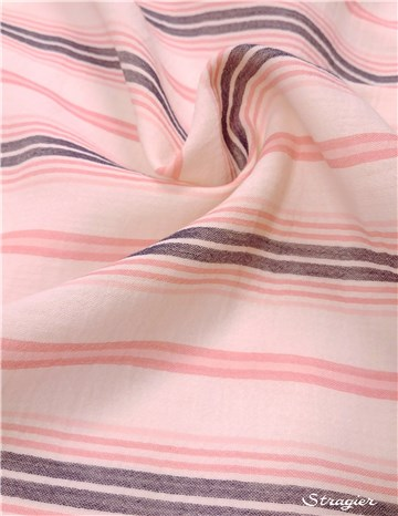 Double Cotton Gauze - Rayures Bayadères - Pink-Blue