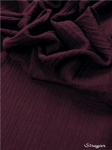 Double Cotton Gauze - Plain - Aubergine