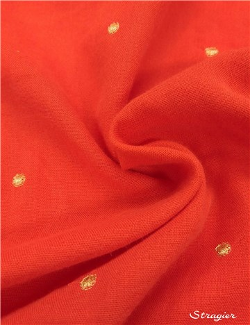 Embroidered Double Cotton Gauze - Etincelles - Or clair - Corail