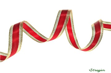 Satin Ribbon + Lurex - Plain - Or et Rouge - 20 mm