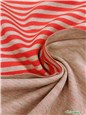 Interlock Coton double face - Stretch - Rayures 6mm - Rouge-Gris