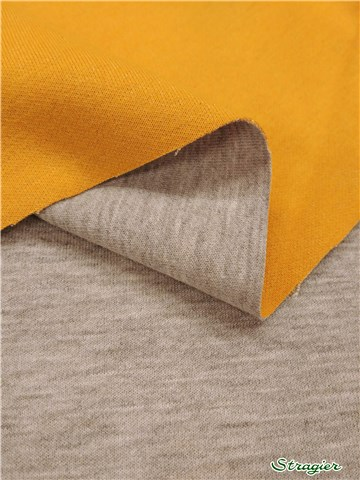 Interlock Coton double face - Stretch - uni - Jaune Moutarde-Gris