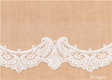 fine Cotton Embroidery on sheer Tulle - Corinthia - Stragier Pale Ivory - 65 mm