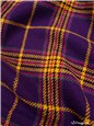 blended Wool Fabric - Carreaux - Violet-Moutarde