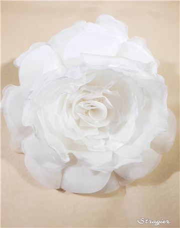 Silk Artificial Flower - Handmade - Rose 4 - Stragier Pale Ivory - 26 cm