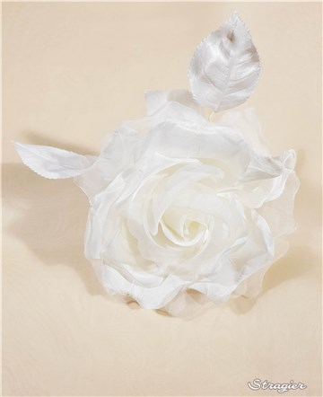 Silk Artificial Flower - Handmade - Rose 1 - Stragier Pale Ivory - 12 cm