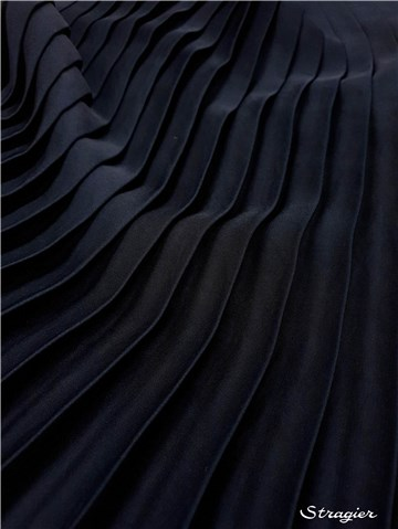 Pleated Panel - washed Satin - uni - Marine - 140 cm