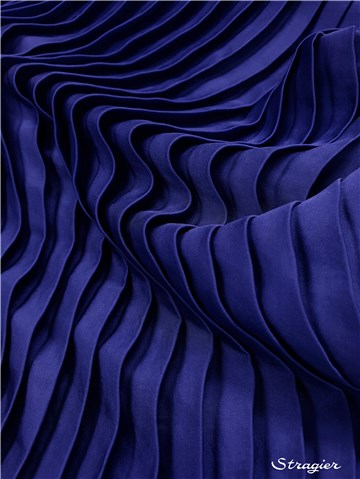 Pleated Panel - washed Satin - uni - Bleu Saphir - 140 cm