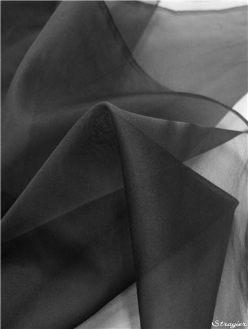 Silk Organza - Plain - Black