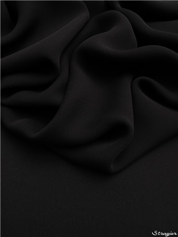 Double Georgette en Soie - Uni - Black