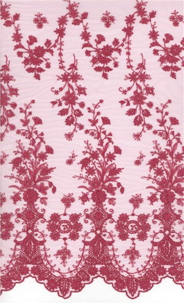 Broderie fine sur tulle invisible - Botticelli - Framboise - 130 cm