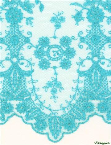 Broderie fine sur tulle invisible - Botticelli - Turquoise - 130 cm