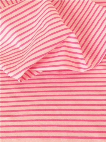 Jersey Coton stretch - Rayé 5mm-3mm - Rose-Candy