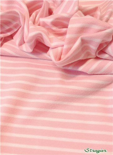 Jersey Coton stretch - Rayé 5mm-3mm - Rose-Blanc