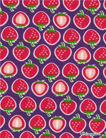 Jersey Coton stretch HamburgerLiebe - Yummy Strawberry - Blanc