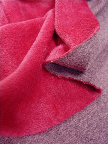 Teddysoft double-face - uni - Fuschia - Gris-rose
