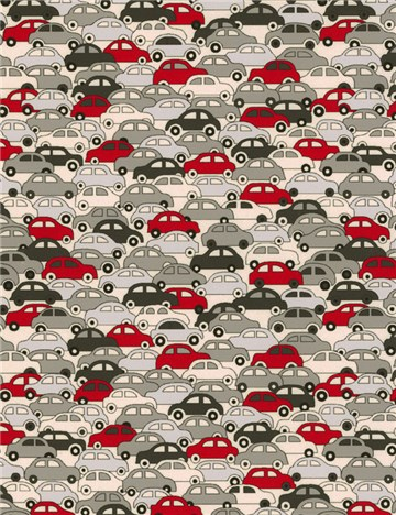 Liberty Tana Lawn - 9172 Cars - Red and Silver