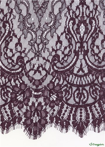 Dentelle Chantilly - Irina - Aubergine - 120 cm