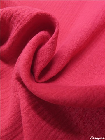 Double Gaze de Coton - uni - Fuschia