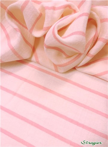 Double Gaze de Coton - Rayures 5mm-20mm - Rose Sorbet