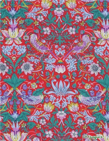 Liberty Tana Lawn - Strawberry thief - Red