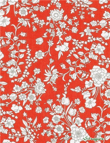 Liberty Tana Lawn - Summer Blooms - Coquelicot