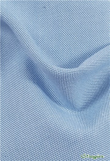 "Coton ""Pin-Point"" - uni - Bleu Azur"