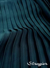Satin washed pleated panels - Duck blue colour
