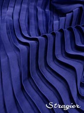 Satin washed pleated panels - Blue Saphir colour