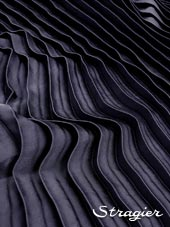 Satin washed pleated panels - Blue slate colour