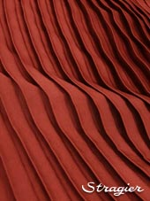 Satin washed pleated panels - Cochineal colour