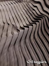 Satin washed pleated panels - Gray steel colour
