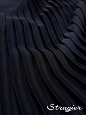 Satin washed pleated panels - Navy colour