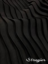 Satin washed pleated panels - Black colour