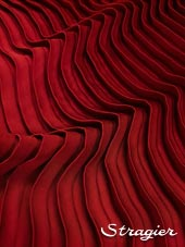 Satin washed pleated panels - Red ruby colour