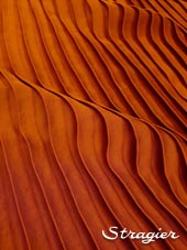 Satin washed pleated panels - Rust colour